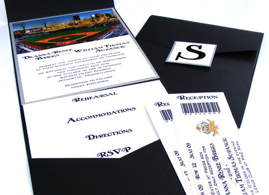 PNC Park Custom designed wedding invitation for Pittsburgh Pirate themed